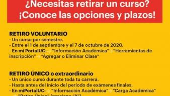 Retiro de cursos para estudiantes de pregrado